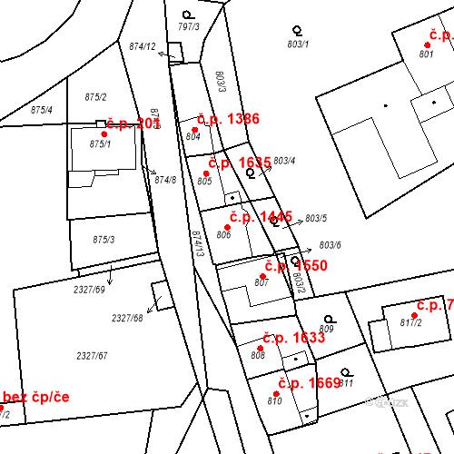 Katastrální mapa Stavební objekt Hořovice 1445, Hořovice