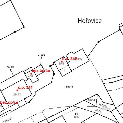 Katastrální mapa Stavební objekt Hořovice 342, Hořovice
