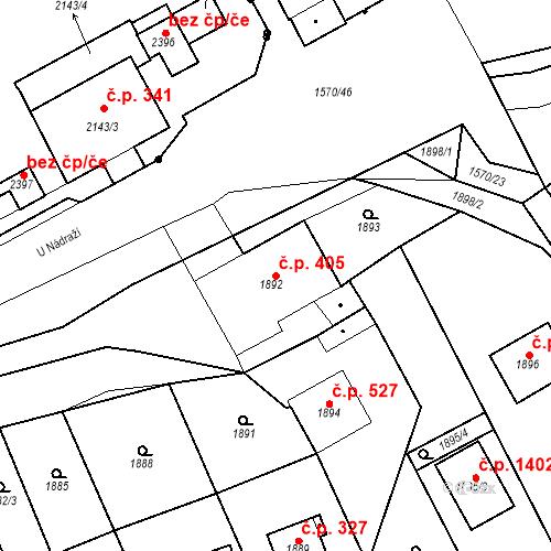 Katastrální mapa Stavební objekt Hořovice 405, Hořovice