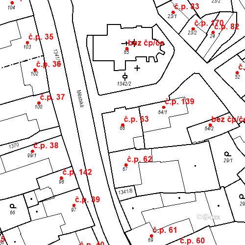 Katastrální mapa Stavební objekt Strunkovice nad Blanicí 63, Strunkovice nad Blanicí