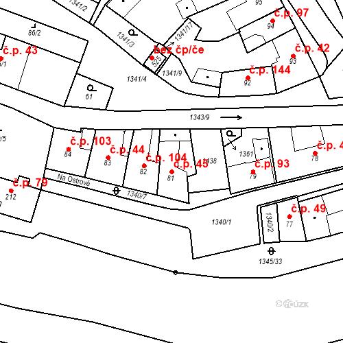 Katastrální mapa Stavební objekt Strunkovice nad Blanicí 45, Strunkovice nad Blanicí