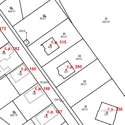 Katastrální mapa Stavební objekt Broumy 290, Broumy