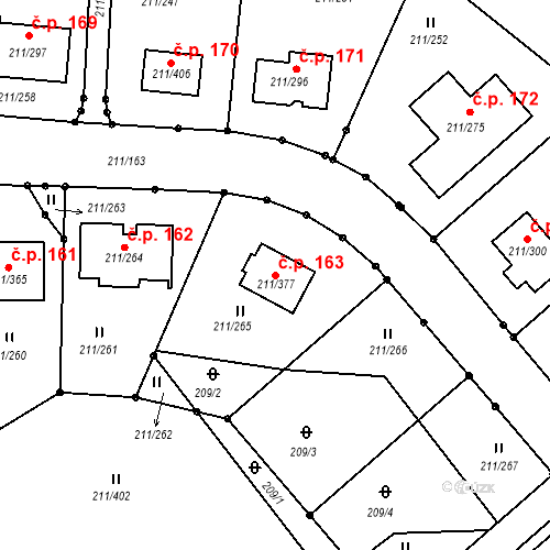 Katastrální mapa Stavební objekt Černá v Pošumaví 163, Černá v Pošumaví