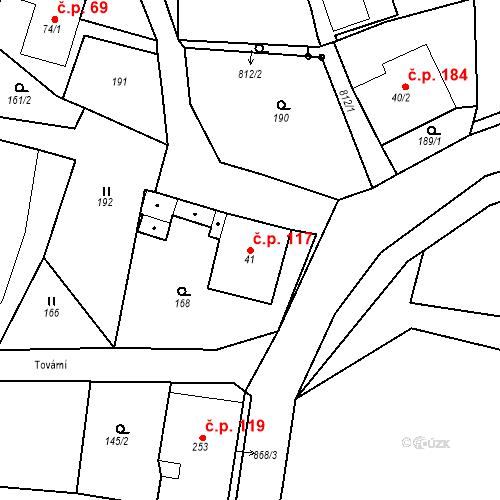 Katastrální mapa Stavební objekt Osek 117, Osek