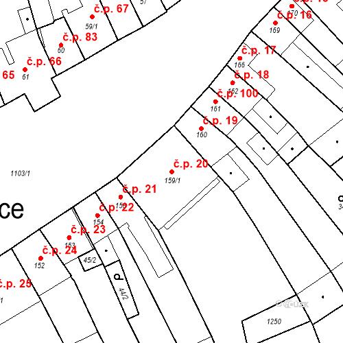 Katastrální mapa Stavební objekt Cerhovice 20, Cerhovice