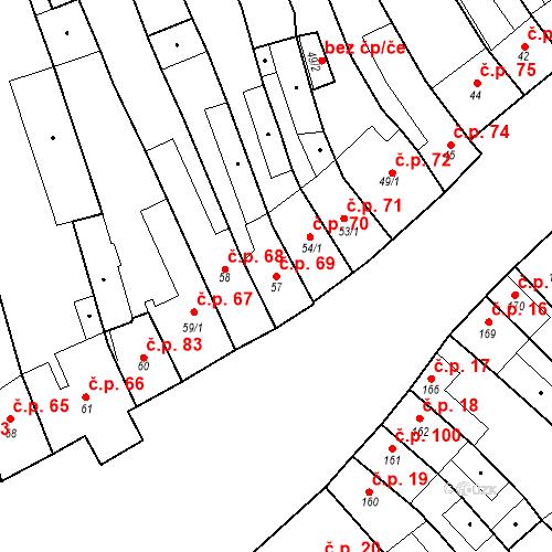 Katastrální mapa Stavební objekt Cerhovice 69, Cerhovice