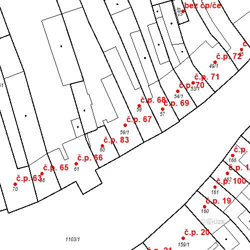 Katastrální mapa Stavební objekt Cerhovice 67, Cerhovice