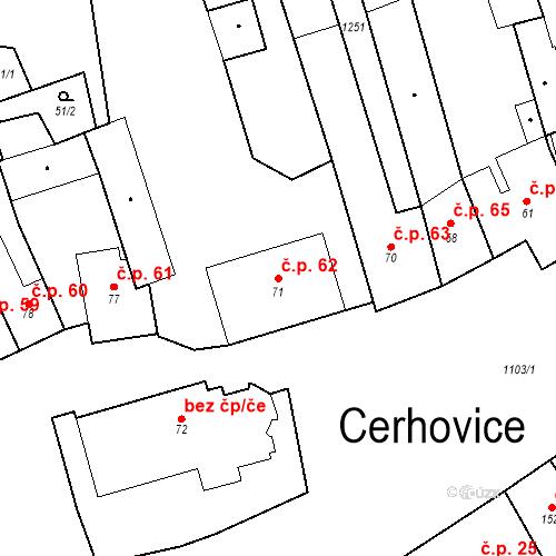 Katastrální mapa Stavební objekt Cerhovice 62, Cerhovice