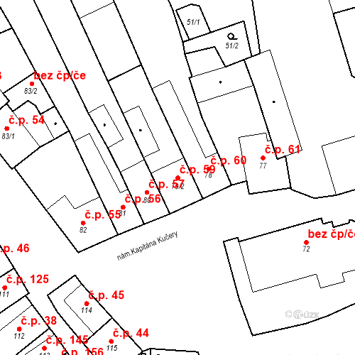 Katastrální mapa Stavební objekt Cerhovice 59, Cerhovice