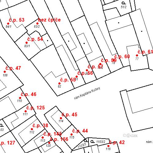 Katastrální mapa Stavební objekt Cerhovice 56, Cerhovice