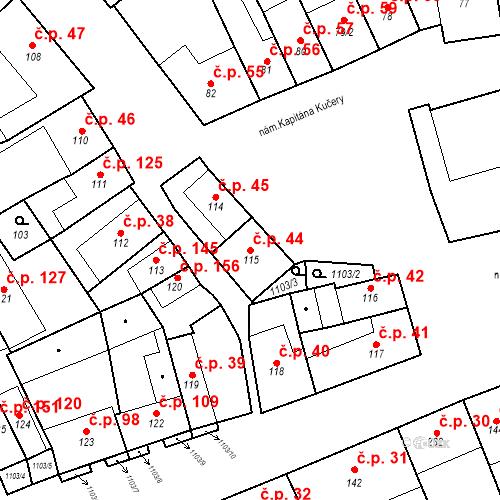 Katastrální mapa Stavební objekt Cerhovice 44, Cerhovice