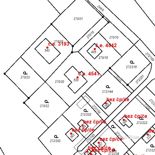 Katastrální mapa Stavební objekt Vtelno 4541, Most