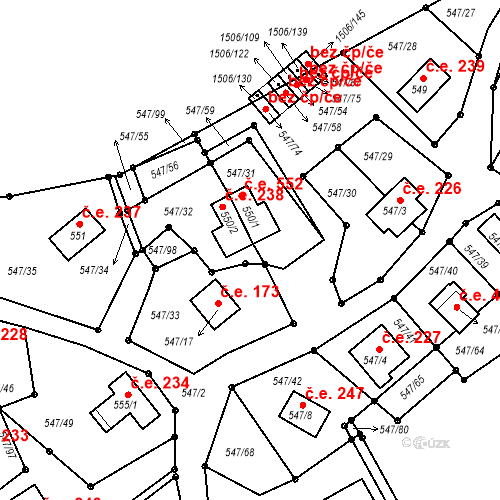 Katastrální mapa Stavební objekt Dolní Vltavice 552, Černá v Pošumaví