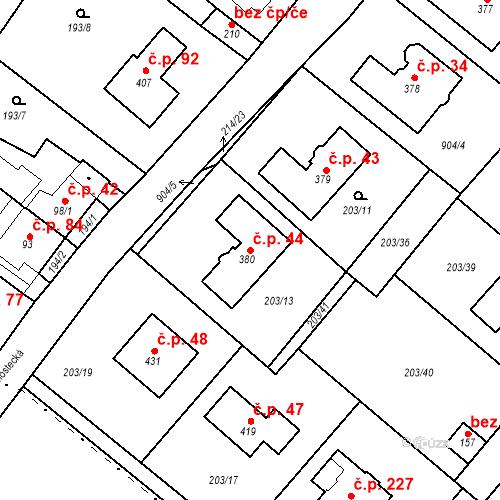 Katastrální mapa Stavební objekt Vtelno 44, Most