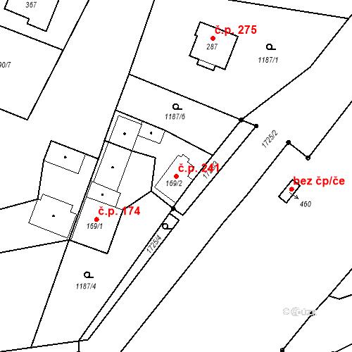 Katastrální mapa Stavební objekt Bělčice 241, Bělčice