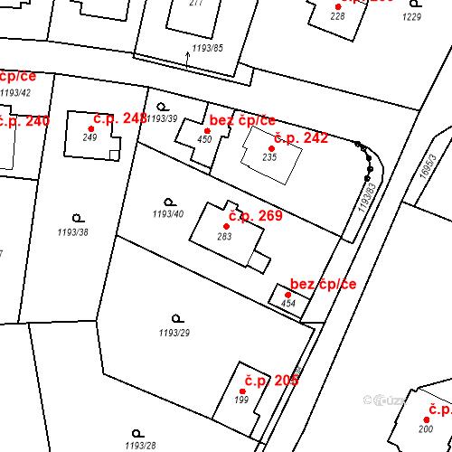Katastrální mapa Stavební objekt Bělčice 269, Bělčice