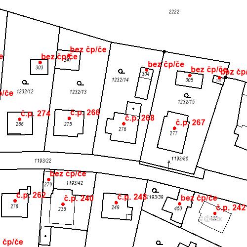 Katastrální mapa Stavební objekt Bělčice 268, Bělčice