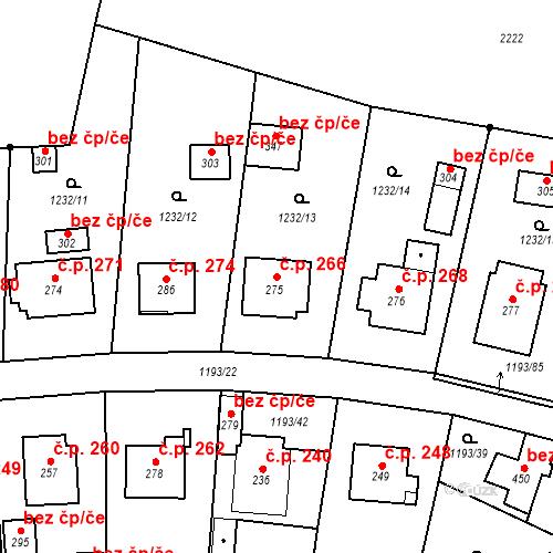 Katastrální mapa Stavební objekt Bělčice 266, Bělčice