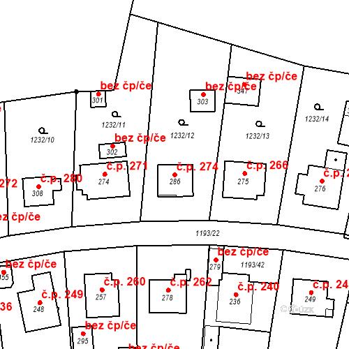 Katastrální mapa Stavební objekt Bělčice 274, Bělčice