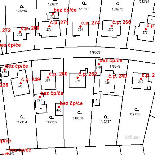 Katastrální mapa Stavební objekt Bělčice 262, Bělčice