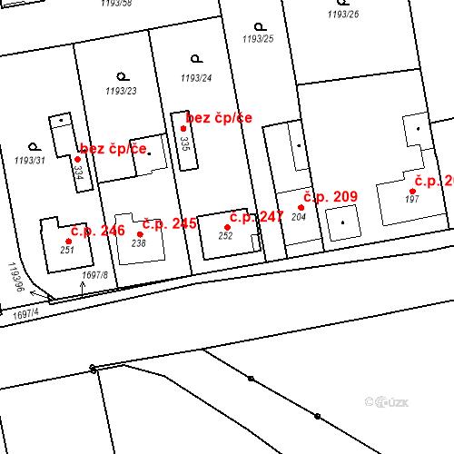 Katastrální mapa Stavební objekt Bělčice 247, Bělčice