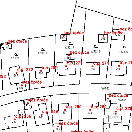 Katastrální mapa Stavební objekt Bělčice 271, Bělčice