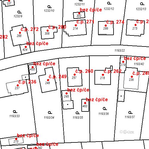 Katastrální mapa Stavební objekt Bělčice 260, Bělčice