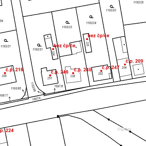 Katastrální mapa Stavební objekt Bělčice 245, Bělčice