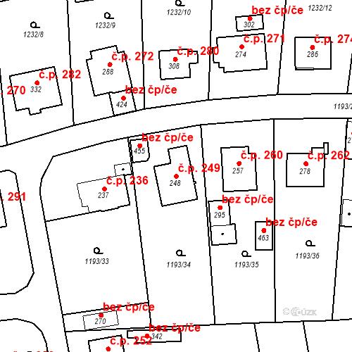 Katastrální mapa Stavební objekt Bělčice 249, Bělčice