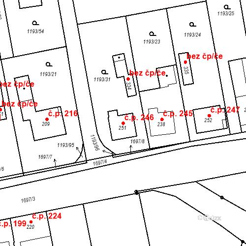 Katastrální mapa Stavební objekt Bělčice 246, Bělčice