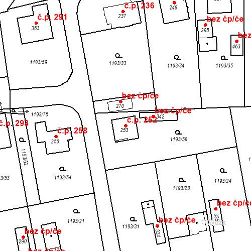 Katastrální mapa Stavební objekt Bělčice 252, Bělčice