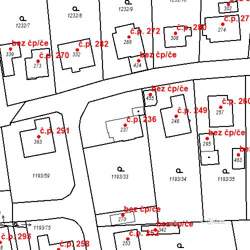 Katastrální mapa Stavební objekt Bělčice 236, Bělčice