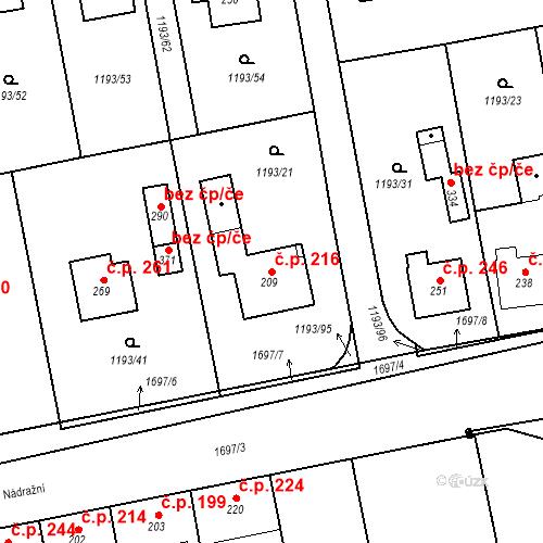 Katastrální mapa Stavební objekt Bělčice 216, Bělčice