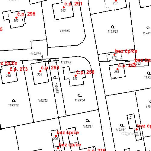 Katastrální mapa Stavební objekt Bělčice 258, Bělčice