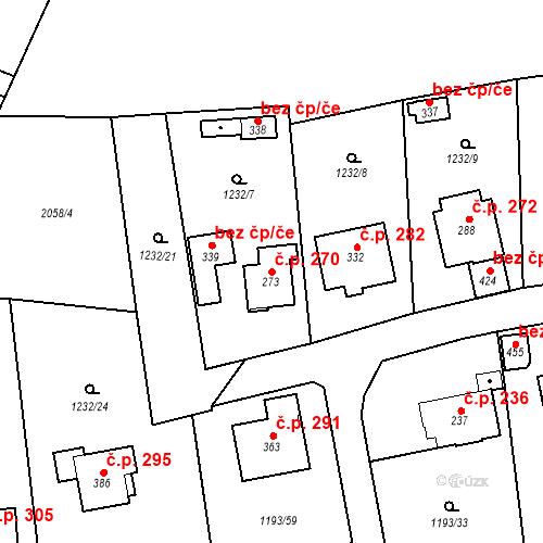 Katastrální mapa Stavební objekt Bělčice 270, Bělčice