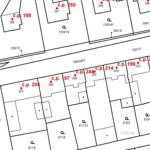 Katastrální mapa Stavební objekt Bělčice 244, Bělčice