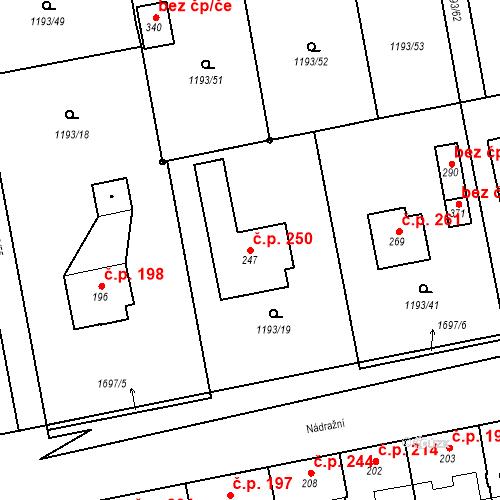 Katastrální mapa Stavební objekt Bělčice 250, Bělčice