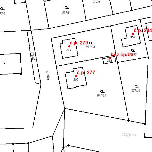 Katastrální mapa Stavební objekt Bělčice 277, Bělčice