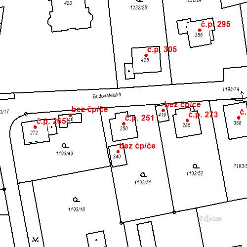 Katastrální mapa Stavební objekt Bělčice 251, Bělčice