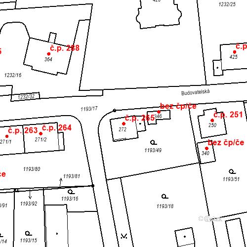 Katastrální mapa Stavební objekt Bělčice 265, Bělčice
