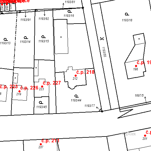 Katastrální mapa Stavební objekt Bělčice 218, Bělčice