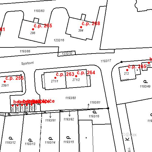 Katastrální mapa Stavební objekt Bělčice 264, Bělčice