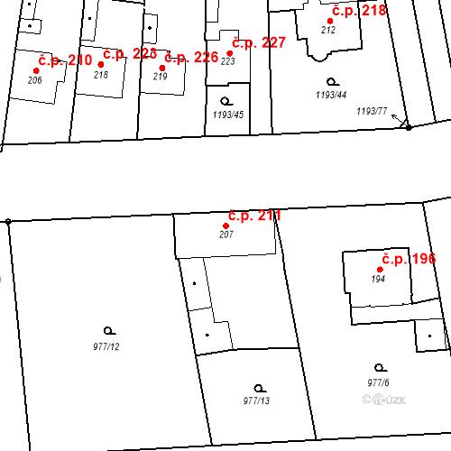 Katastrální mapa Stavební objekt Bělčice 211, Bělčice