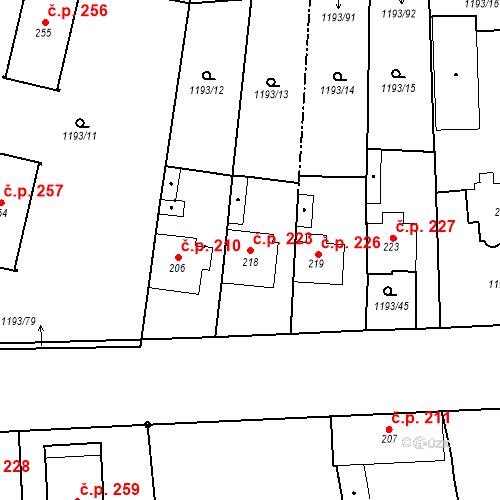 Katastrální mapa Stavební objekt Bělčice 223, Bělčice