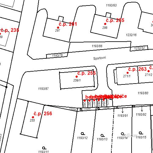 Katastrální mapa Stavební objekt Bělčice 255, Bělčice