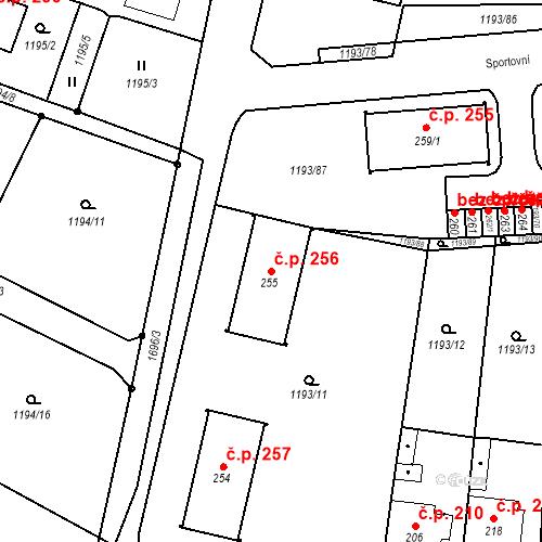 Katastrální mapa Stavební objekt Bělčice 256, Bělčice