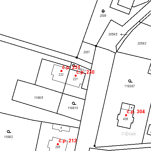 Katastrální mapa Stavební objekt Bělčice 230, Bělčice