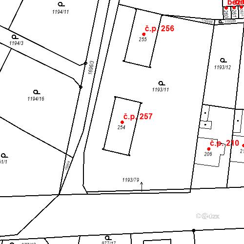 Katastrální mapa Stavební objekt Bělčice 257, Bělčice