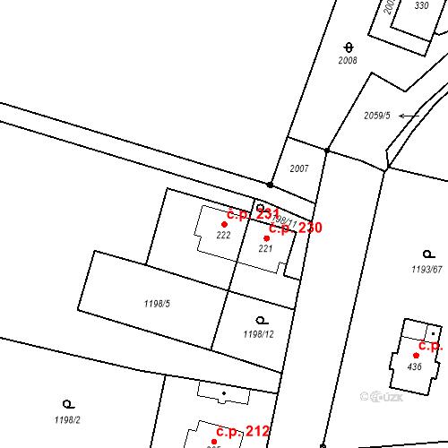 Katastrální mapa Stavební objekt Bělčice 231, Bělčice