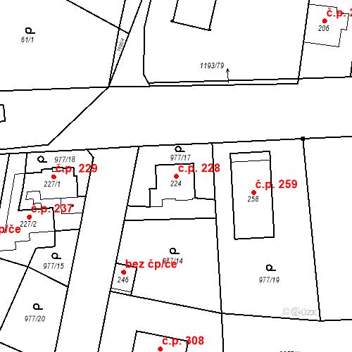 Katastrální mapa Stavební objekt Bělčice 228, Bělčice